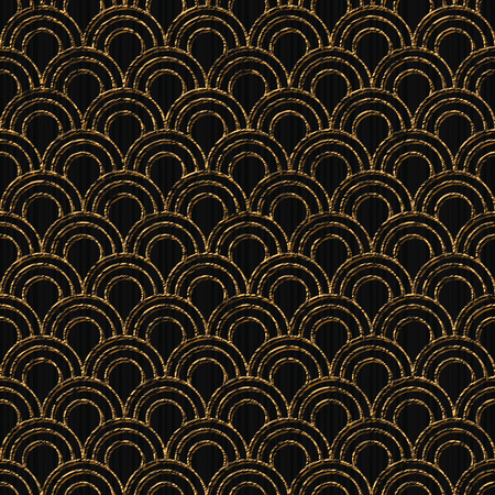 日本のサシコをベースにした金色のモチーフ。シームレスなパターン。スタイル化された魚はテクスチャをスケールします。黒の背景。抽象的な幾