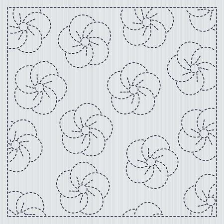 フレームにさくらの花。佐子。派手な仕事のためのキルティングモチーフ。桜の花が咲く伝統的な日本の刺繍の装飾。花の背景。ニードルワークの