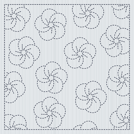 Sakura flowers in the frame. Sashiko. Quilting motif for a fancywork. Traditional japanese embroidery ornament with blooming sakura flowers. Floral backdrop. Needlework texture. 写真素材 - 95570752
