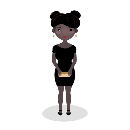 Smiling girl wearing a little black dress. Evening outfit. Elegant mini. Afro american woman. Special occasion dress. Scoop neck gown. Young woman going on a date isolated on white background.