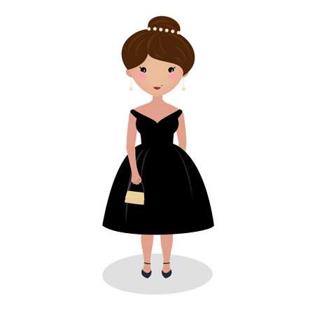 Young girl wearing an elegant midi gown. Evening outfit. Special occasion dress. Illustration. Classic little black dress. Going on a date. Cartoon character isolated on white background.