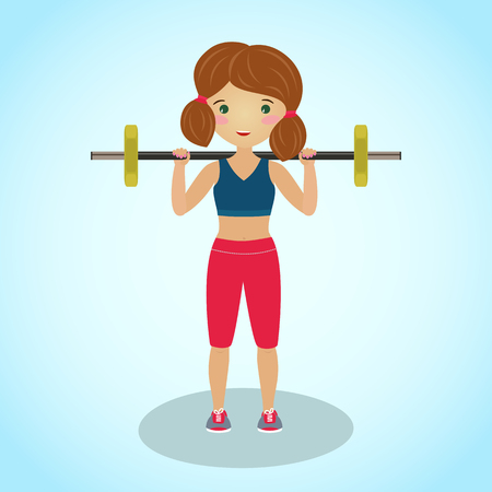 Cute girl with a barbell. Gym illustration. Routine workout. Cartoon character. Fitness girl squatting. Healthy young woman in sportswear involved in sports. Illustration