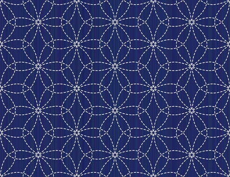 Floral sashiko seamless pattern. Abstract background. Traditional japanese floral motif (Hana-Zashi). Blooming flowers. For handiwork, decoration or printing on fabric.