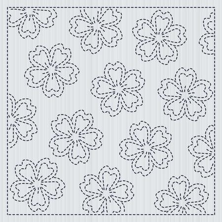 さくらの花と日本の針仕事、手仕事のための刺し子フレーム。ベクターの図。  イラスト・ベクター素材