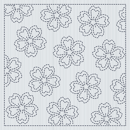 Japanese needlework with Sakura flowers, Sashiko frame for handiwork. Vector illustration. 写真素材 - 95745212