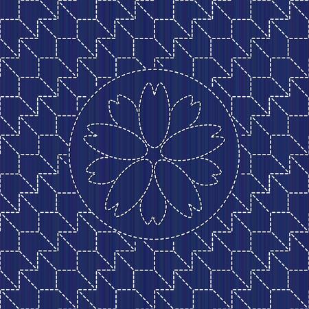 Kimono pattern. Sashiko texture with blooming sakura flower. 写真素材 - 96157184