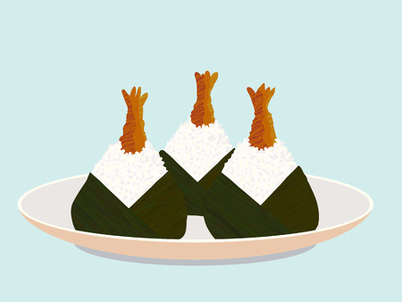 Set of shrimp onigiri on the plate. Asian snack. Japanese rice balls. Healthy food. Lunch illustration. Triangle rice balls with fried shrimp (ebi). For decoration, web page or printing.