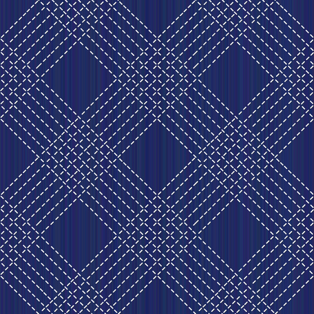 Sashiko kimono pattern. Abstract seamless texture. Japanese embroidery ornament. White stitches on the indigo blue background. For decoration, pattern fills for printing on fabric.