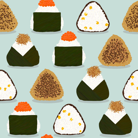 Four types of onigiri. Seamless pattern. Sticky rice balls. Japanese cuisine. Illustration. Lunch. Topped with salmon roe. Fried with soy sauce. With sweet corn. Topped with small fry fish.