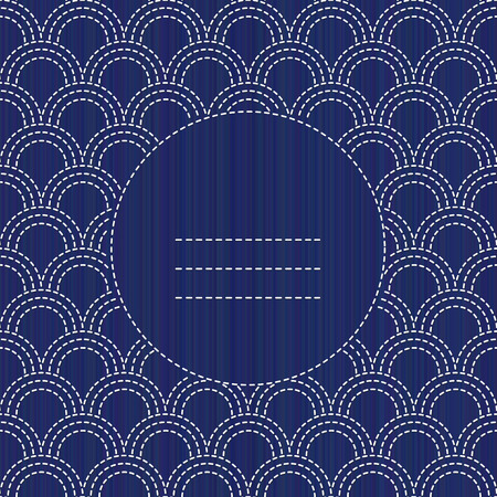 Abstract sashiko text frame, copy space white stitches on the indigo blue background. Japanese embroidery ornament for pattern fills, handicraft for decoration. Can be used as seamless pattern.