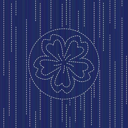 Sashiko texture with blooming sakura flower. Abstract seamless texture. Vector illustration. 写真素材 - 96701791