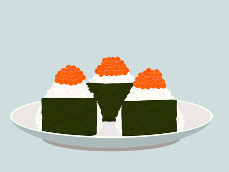 Onigiri topped with salmon roe (ikura) on the plate.  Triangle rice balls wrapped with nori seaweed. Vector illustration. Illustration