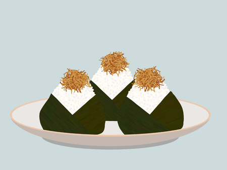 Onigiri topped with small fish fry on the plate. Japanese cuisine. Pescaterian food. Lunch Illustration. Triangle rice balls wrapped with nori seaweed.