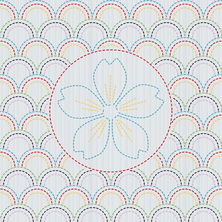 Kimono pattern. Sashiko texture with blooming sakura flower. Abstract seamless texture. Classic japanese quilling. Needlework motif or texture. For handiwork, decoration or printing on fabric.