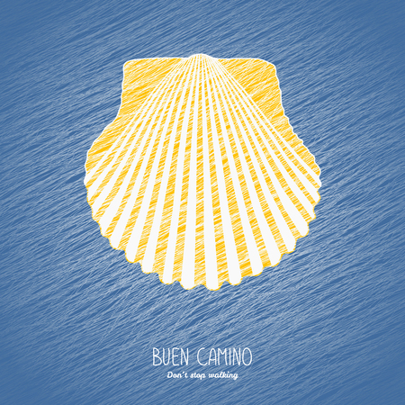 Buen Camino. Dont stop walking. Postcard or banner. Yellow scallop shell on the blue background. Pilgrims navigation sign. Symbol of the Camino de Santiago in Spain.