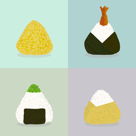 Various onigiri. Sticky rice balls. Japanese cuisine. Illustration. Lunch. Colored by turmeric. Shrimp Stuffed Onigiri. Topped with tobiko roe. Wrapped with omelette. Can be used as seamless pattern. Vektorové ilustrace