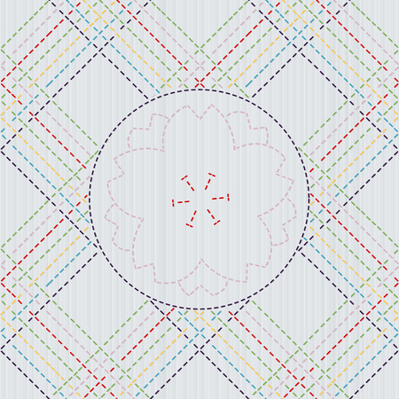 佐子。抽象的なシームレスなパターン。フレームにさくらの花。派手な仕事のためのキルティングモチーフ。桜の花が咲く伝統的な日本の刺繍。花の背景。ニードルワークのテクスチャ。 写真素材 - 97389356