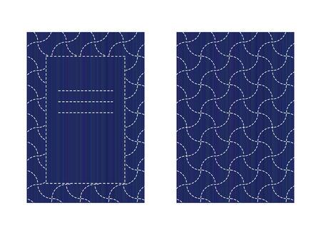 白で隔離された両面刺し子カード。ステッチ。古典的な日本語のクイリングテンプレート。グリーティング カードのレイアウト。抽象的なシームレ