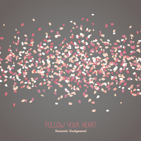 Simple romantic frame for text. Sakura petals. Spring flyer. Blooming cherry blossom petals. Hanami. Japanese Culture. Scatter. Dark warm colors. Follow your heart. Illustration