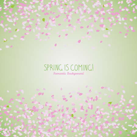 Simple romantic frame for text. Sakura petals. Spring flyer. Blooming cherry blossom petals. Hanami. Japanese Culture. Scatter. Warm colors. Spring is coming.