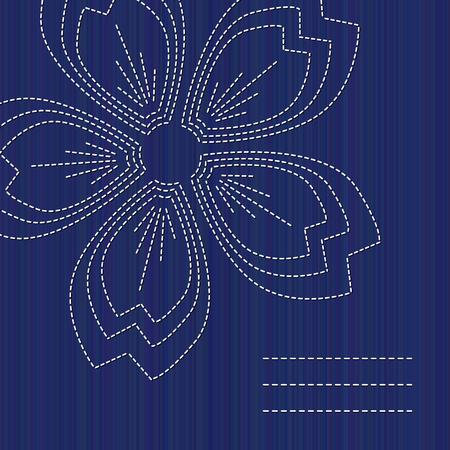 Sashiko banner with blooming sakura flower and copy space. Text frame. Abstract seamless texture. Indigo color. Classic japanese quilling. Needlework texture. For handiwork, banner or postcard decor. Illustration