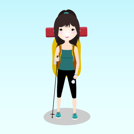 Young traveller walking alone the Camino de Santiago. A woman travelling alone. Student with a backpack hiking during a summer trip. Asian or Caucasian ethnicity. Backpacker illustration.