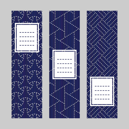 Sashiko banner set. Abstract texture. Traditional Japanese Embroidery Ornament. Set of vertical flyers. Indigo and white colors. Simple design for invitation, postcard or bookmark.