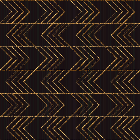 Seamless pattern based on japanese sashiko. Stylized ornament scratched texture. Inclined golden motif. Black background. Abstract geometric backdrop for web-page background or pattern fills.