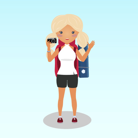 Smiling blonde girl takes a photo. Young traveller walking the Camino de Santiago. Student traveller with a big backpack. A woman travelling alone. Caucasian ethnicity. Backpacker illustration. Çizim