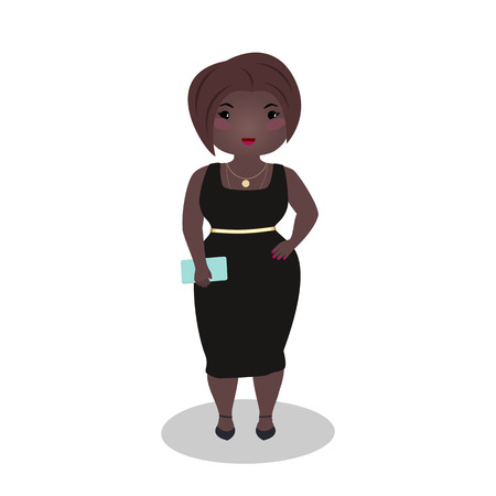 Smiling girl wearing a little black dress. Evening outfit. Elegant midi. Curvy afro american woman wearing a special occasion dress. Cartoon character. Young woman going on a date isolated on white.