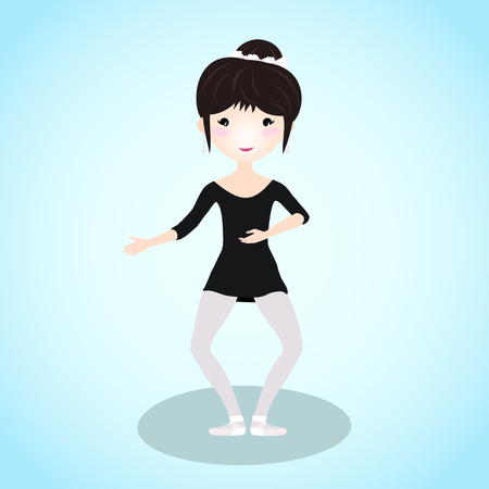 Ballet dancer doing a plie. Cartoon character. Young girl wearing a little black camisole and pointe shoes. Healthy woman training in the ballet class. Fitness illustration. Caucasian ethnicity.
