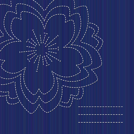 Sashiko card with blooming sakura flower and copy space. Text frame. Abstract seamless texture. Indigo color. Classic japanese quilling. Needlework texture. For handiwork, banner or postcard decor.