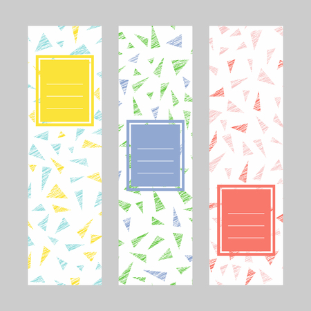 Set of abstract vertical banners. Text frame. Colorful triangles. Unstable motif. Scratched series. Puzzle background. Simple design for invitation, postcard or flyer. 矢量图像