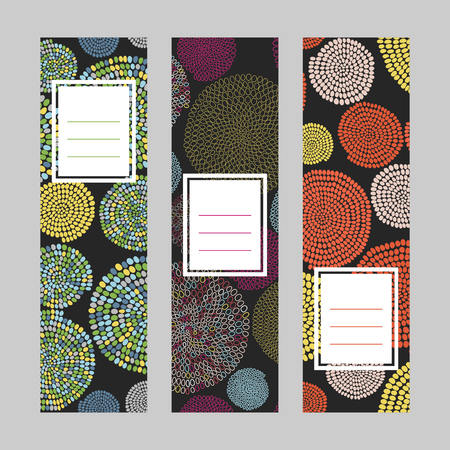 Set of abstract vertical banners. Text frame. Bead motif series. Black background. Round elements. Simple design for invitation, postcard or flyer. Illustration