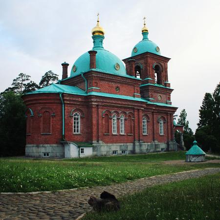 The Resurrection skete near Nikonovsky bay. Toned photo. Island Valaam. Beautiful churches. Voskresensky church. Island of Valaam, Republic of Kareliya, Russia. Banque d'images