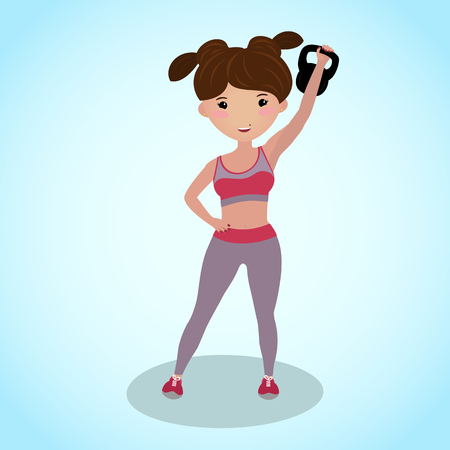 Cute girl with a kettlebell. Gym illustration. Routine workout. Cartoon character. Fitness girl holding the kettlebell overhead. Healthy young woman in sportswear involved in sports. Caucasian. Vectores