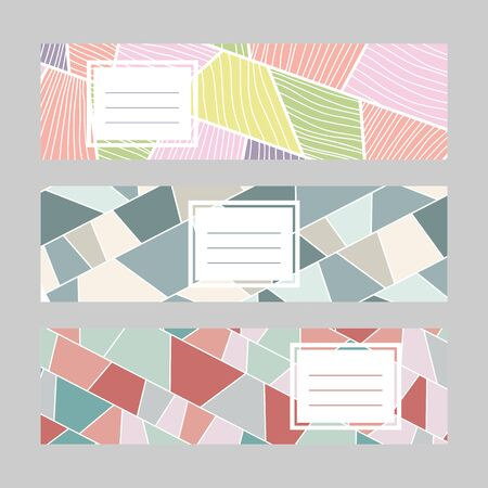 Set of horizontal banners. Text frame. Abstract textures. Diagonal series. Pale colors. Simple design for a bookmark, flyer or poster. 矢量图像