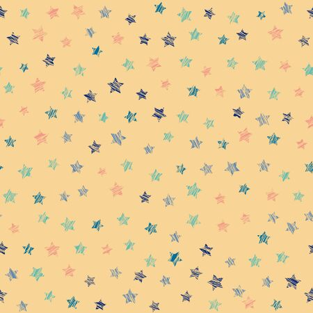 Star texture. Seamless pattern. Scatter. Noise backdrop. Variety of stars in bright colors. Colorful background for decoration or printing on fabric. Outline backdrop for pattern fills.