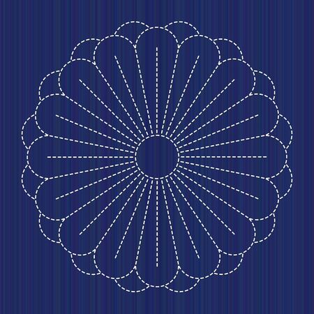 Japanese Embroidery Ornament with blooming Chrysanthemum flower. Sashiko motif. Chrysanth flower Blossoming. Floral backdrop. For handiwork, decoration or printing on fabric. Illustration