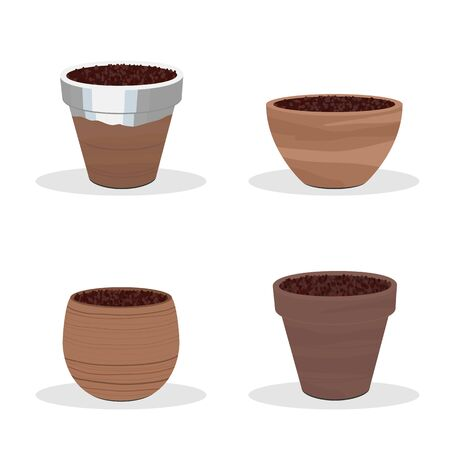 Terracotta pots isolated on white. Gardening equipment. Round clay containers. Garden flower pot icons or illustrations. 矢量图像