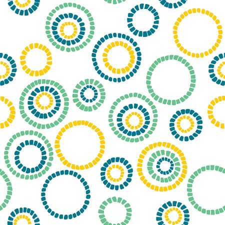 Simple circle texture. Abstract seamless pattern. Colorful background with bright colored mosaic circles. Plain backdrop for decoration, wallpaper or handywork.
