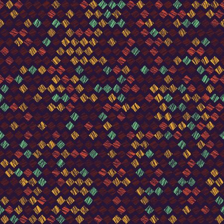 Rhombus pattern. Scatter. Noise backdrop. Seamless pattern. Variety of rhombuses in bright colors. Colorful background for decoration or printing on fabric. Outline backdrop for pattern fills. 矢量图像