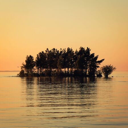 Small island in the Ladoga lake. Sunset on Valaam. Colorful summer evening. Wild nature of Russian North. Lake and pine trees. Republic of Karelia, Russia. 免版税图像