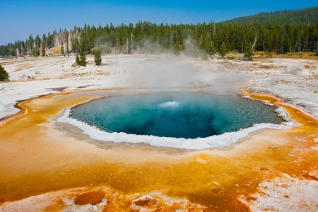 hydrology: The Blue Star Pool in Yellowstone National Park Stock Photo