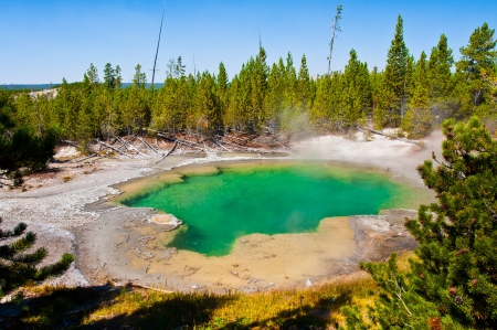 hydrology: Emerald Pool in Yellowstone National Park,USA Stock Photo