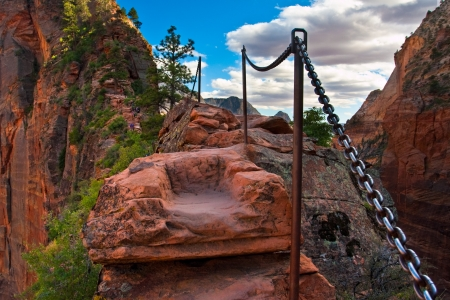 zion: Angel Landing Trail in Zion National Park,Utah,USA  Stock Photo