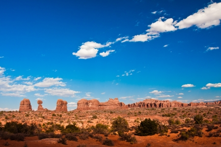 Classic Western Landscape in Arches National Park, Utah photo