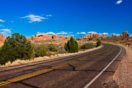 Desert Road in Arches National Park,Utah photo