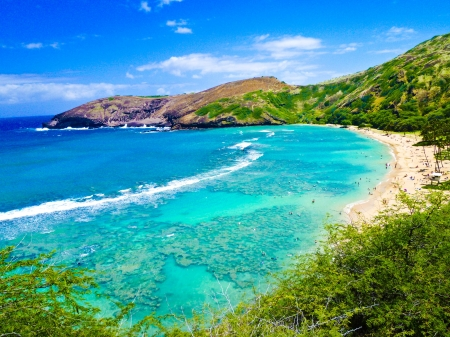 Snorkeling Bay in Oahu,Hawaii Stock Photo