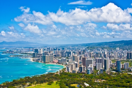 oahu: Beautiful Skyline of Oahu,Hawaii Stock Photo